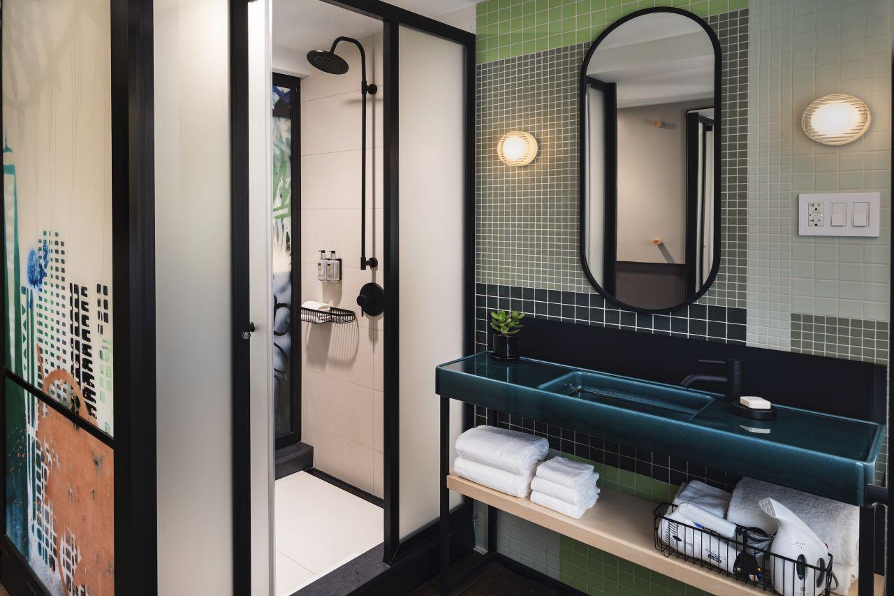 Bathroom vanity + rain shower
